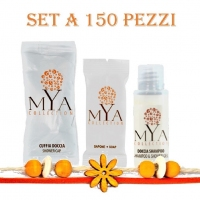 SET CORTESIA PER B&B E HOTEL LINEA MYA COLLECTION SET A 150 PZ(shampoo/doccia,saponette,cuffie)